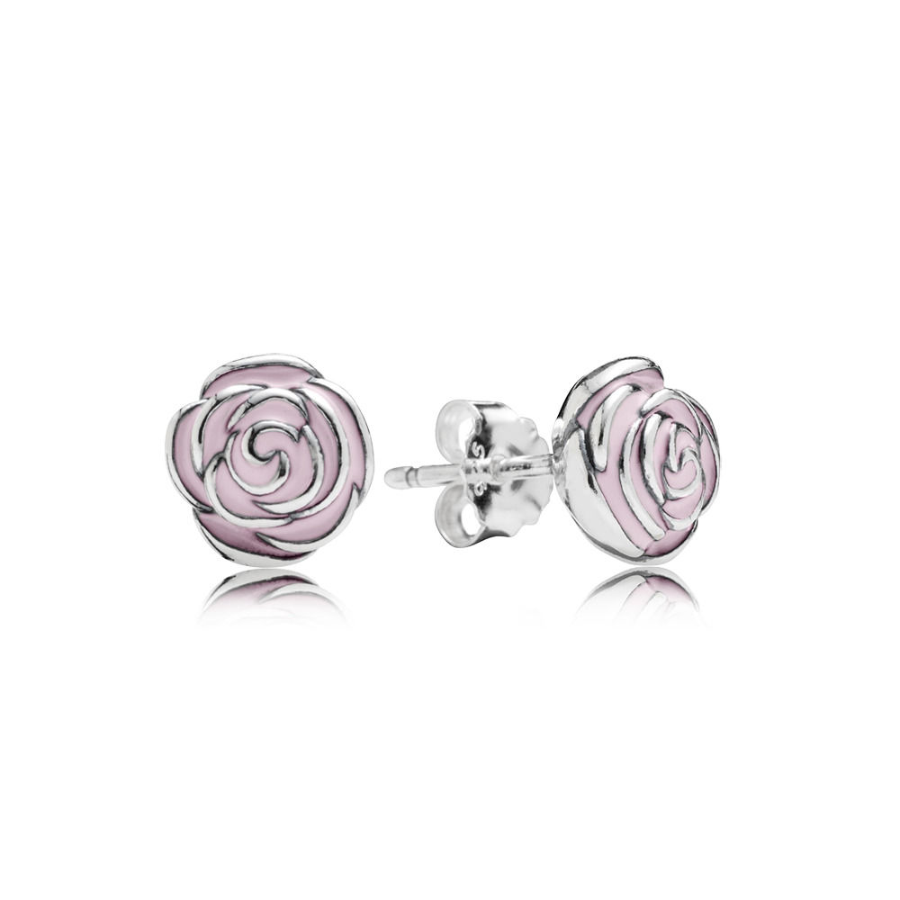 Pink Rose Garden Silver Stud Earrings - PANDORA 290554EN40