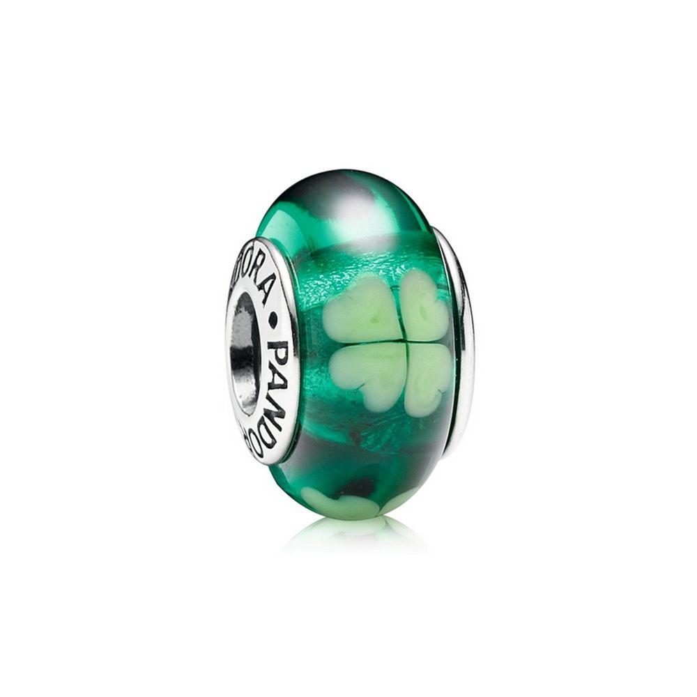 Kiss Me I'm Irish, Green Clover Murano Glass 790927