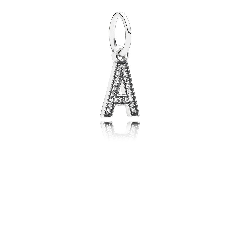 Letter A Dangle Charm, Clear CZ 791313CZ