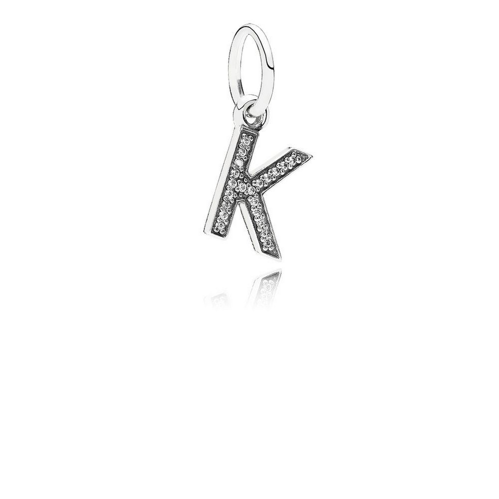 Letter K Dangle Charm, Clear CZ 791323CZ