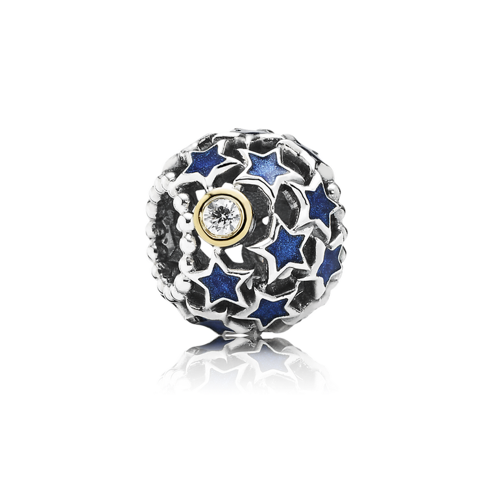 Night Sky Charm, Blue Enamel & Clear CZ 791371CZ