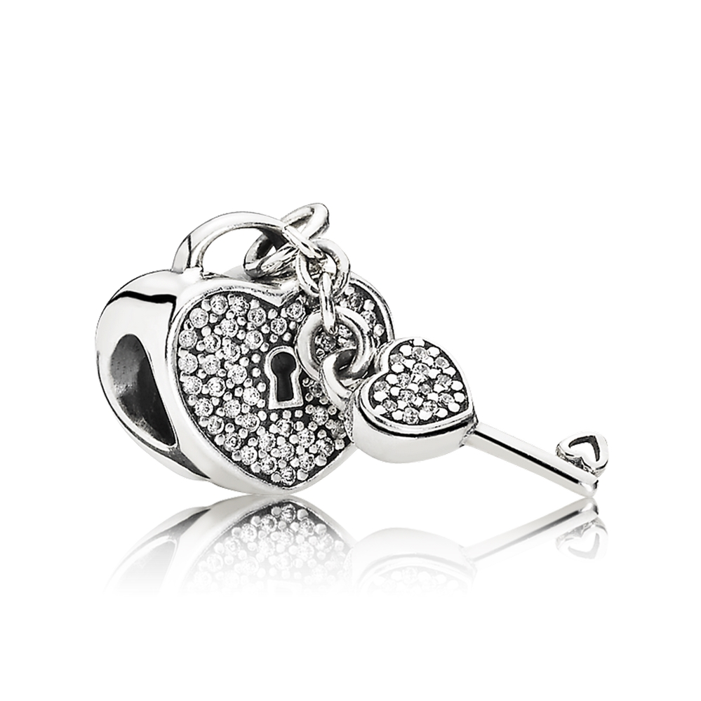 Pandora Lock Of Love Charm, Clear CZ 791429CZ