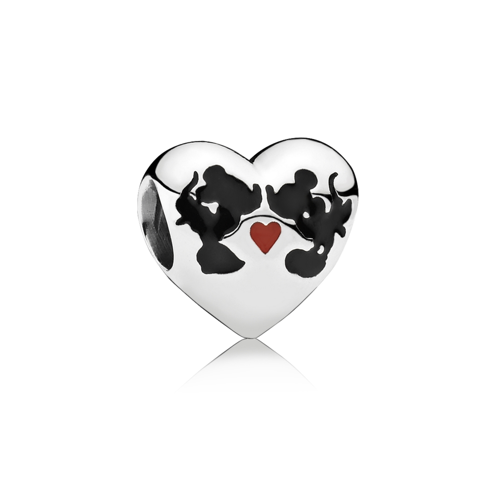 Pandora Disney, Minnie & Mickey Kiss Charm, Mixed Enamel 791443E