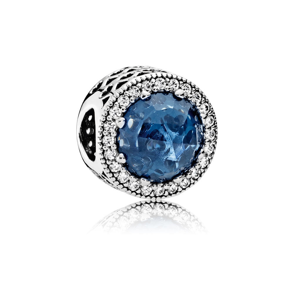 Pandora Radiant Hearts Charm, Moonlight Blue Crystal & Clear CZ