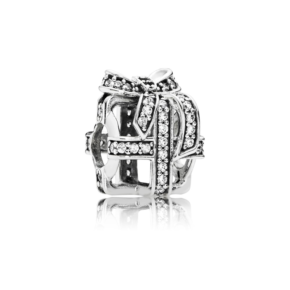 Openwork gift silver charm with clear cubic zirconia 791766CZ