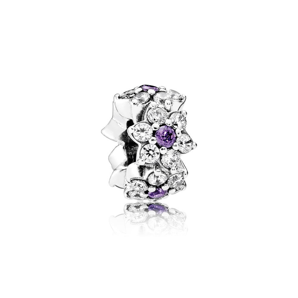 Pandora Forget Me Not Spacer, Purple & Clear CZ 791834ACZ