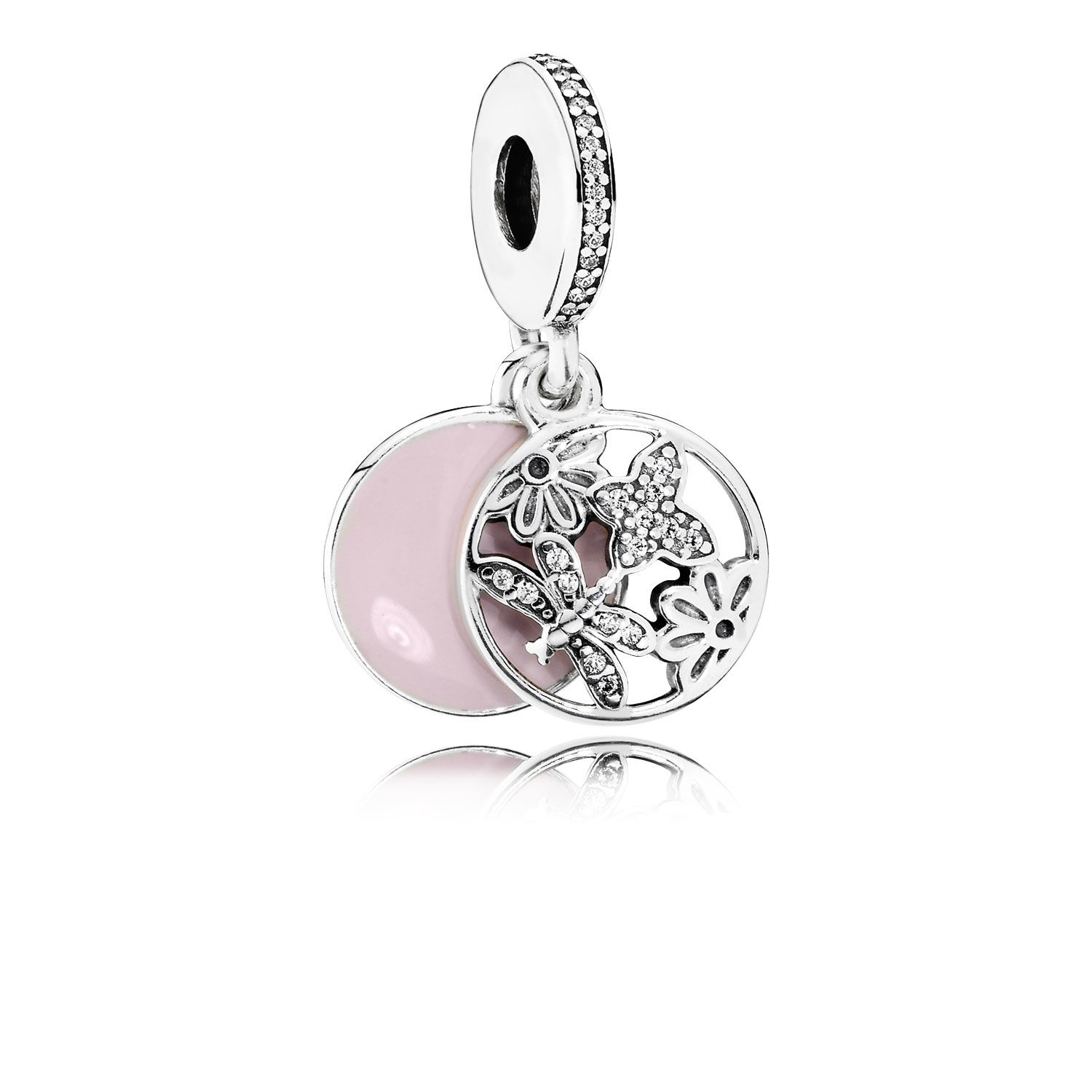 Pandora Springtime Dangle Charm, Soft Pink Enamel & Clear CZ 791