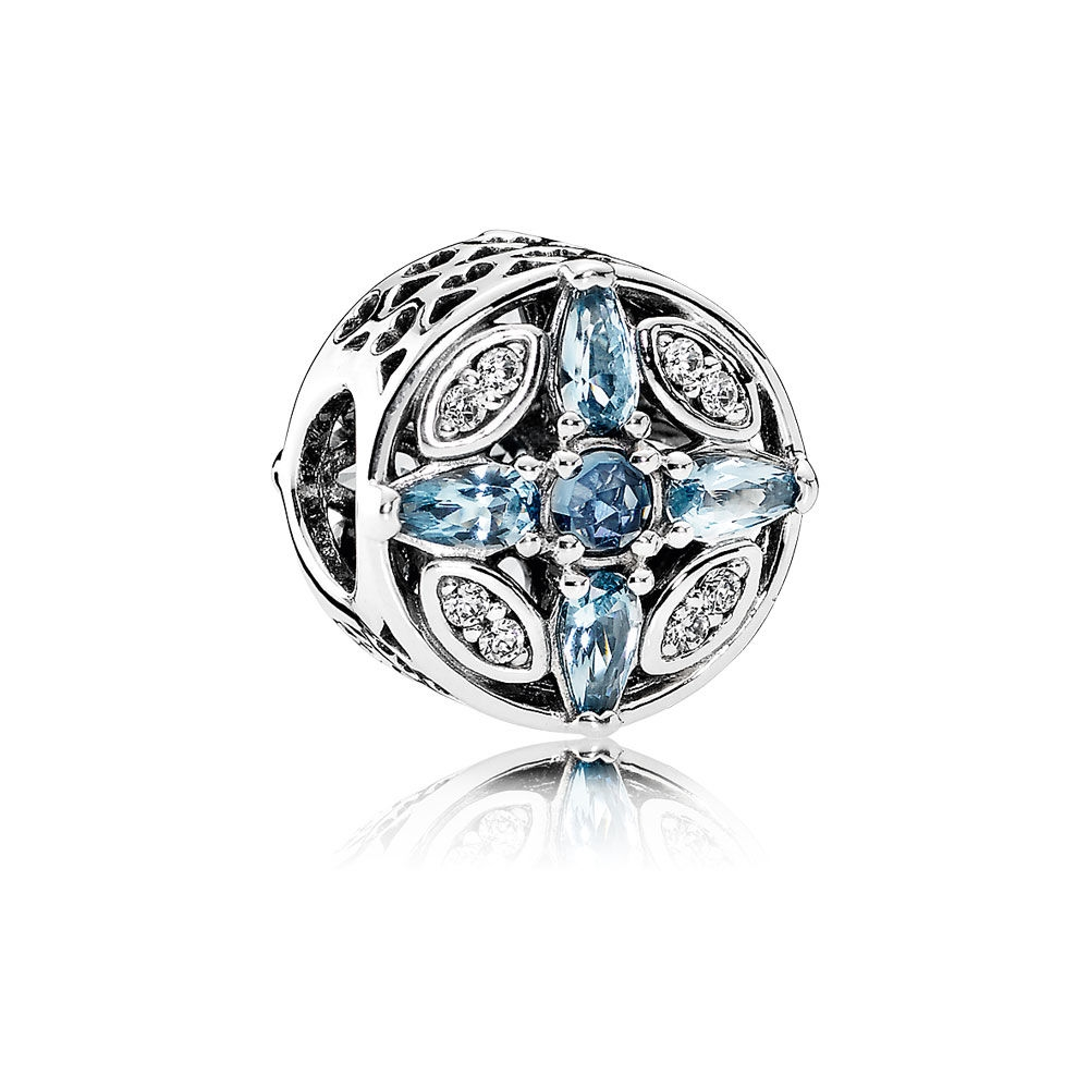 Pandora Patterns of Frost Charm, Multi-Colored Crystal & Clear C