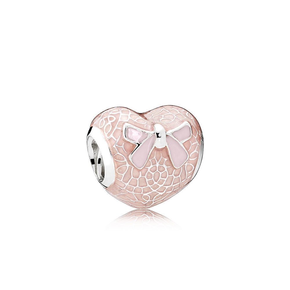 Pandora Pink Bow & Lace Heart Charm, Transparent Misty Rose & So