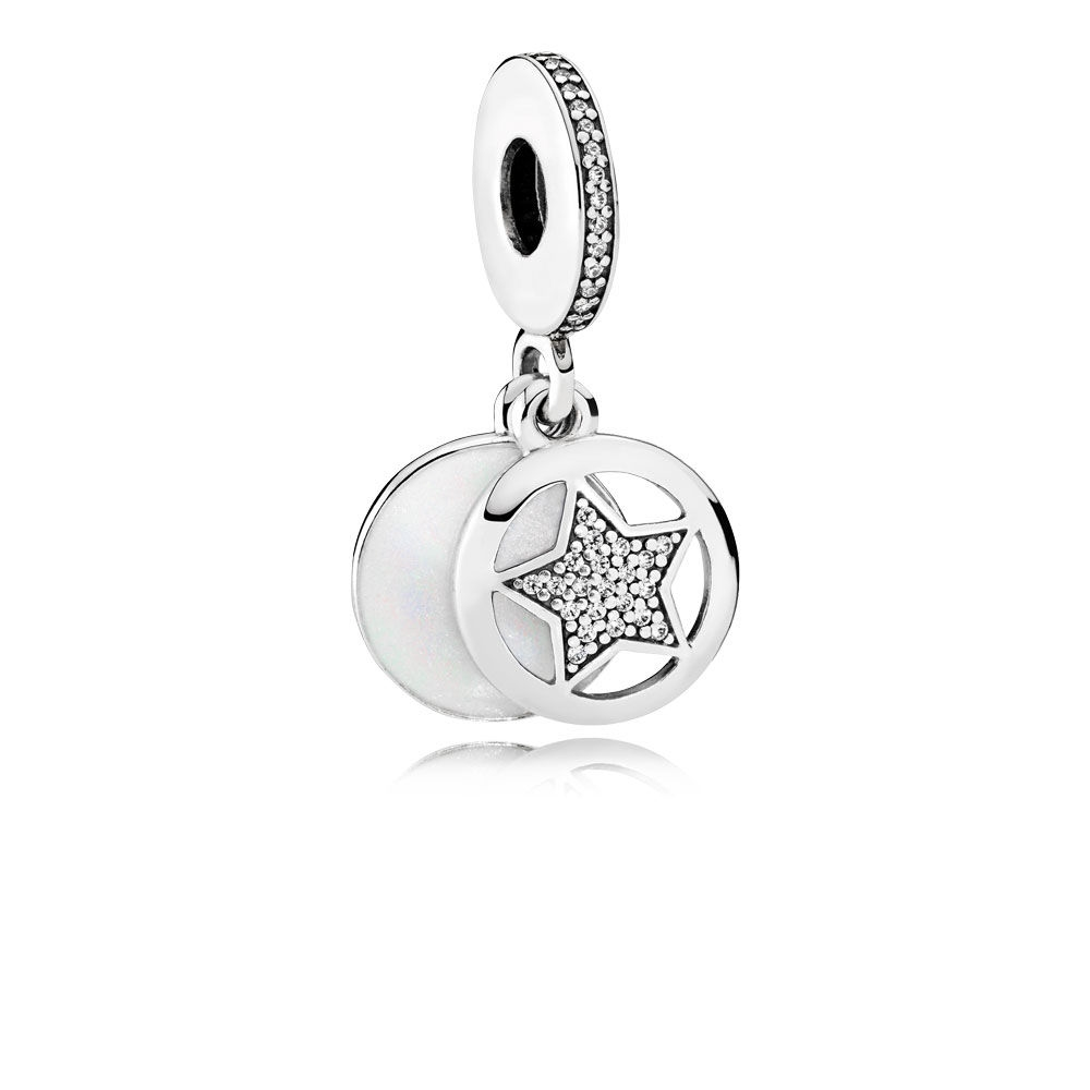 Pandora Friendship Star Dangle Charm, Silver Enamel & Clear CZ 7
